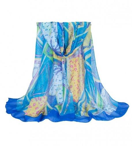 Nanxson(TM) Lady/Women's Voile Fashion Design Summer Scarf/Wrap 18080CM WJW0012 - Blue - C512G7K7XU3