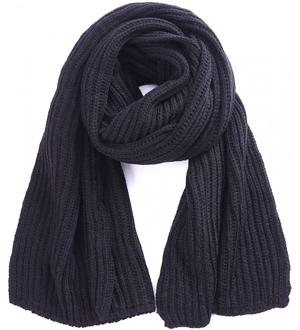 d73b00ab2f2 Soft Winter Scarves Warm Knit Scarves for Outdoor Knitted Womens Scarves -  Black - CI188LTCM8T