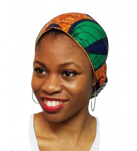 Orange-Green and Blue African Print Ankara Head wrap- Tie- scarf- Multicolor One Size - CH12ODWLC1J