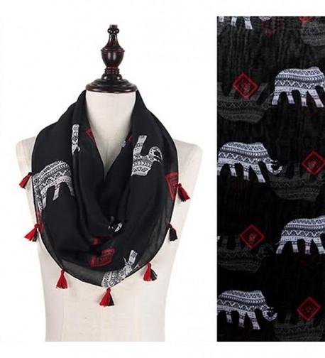 StylesILove Tribal Elephant Tasseled Infinity Scarf- 2 Colors - Black - CS12BPIZOGH