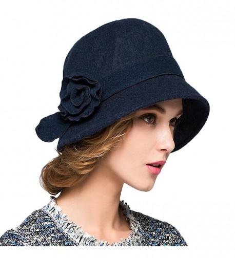 Maitose Women's Wool Felt Flowers Church Bowler Hats - Blue - C41293EZQB3