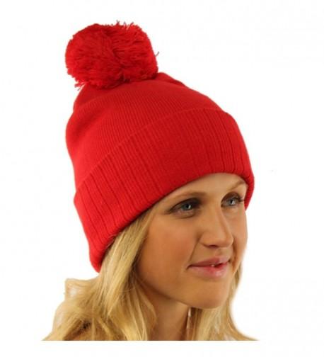 2 in 1 Winter 2ply Stretch Knit Pom Pom Cuff No Cuff Beanie Skull Ski Hat - Red - CN11GAW7M4F