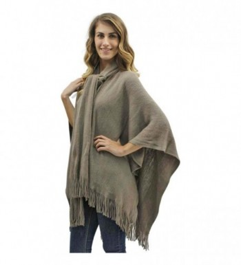 Two-Tone Fringed Shawl With Attached Scarf - Taupe - C111PYYD17D