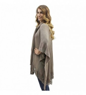 Taupe Two Tone Fringed Shawl Attached