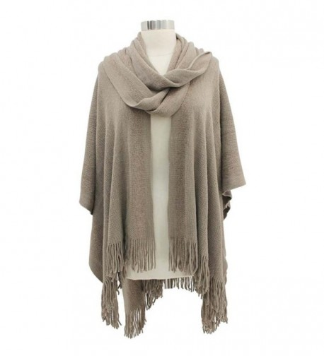 Taupe Two Tone Fringed Shawl Attached in Wraps & Pashminas
