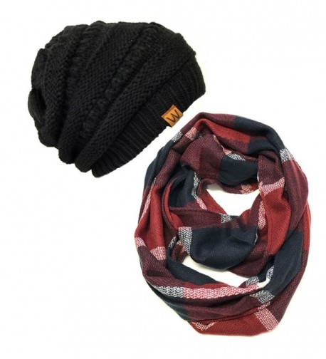 Wrapables Plaid Print Winter Infinity Scarf and Beanie Hat Set- Navy and Wine - C312OBVQRVY