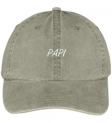 Trendy Apparel Shop Papi Embroidered Washed Cotton Baseball Cap - Khaki - CE12KIJAGAV