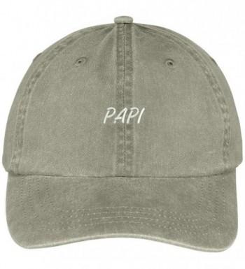 Trendy Apparel Shop Papi Embroidered Washed Cotton Baseball Cap - Khaki - CE12KIJAGAV