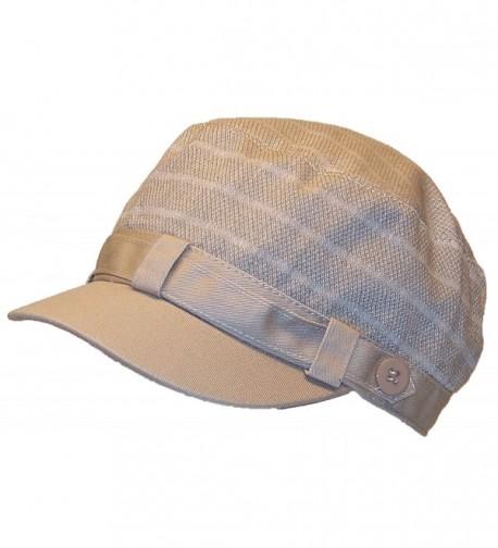 David & Young Womens Elastafit Striped Cadet Hat W/Band & Buttons (One Size) - Khaki - CS12N1H5EXP