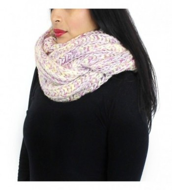 Chunky Knitted Infinity Scarf Blended Pastel Color - Pink and Purple - CS125VM1VUL