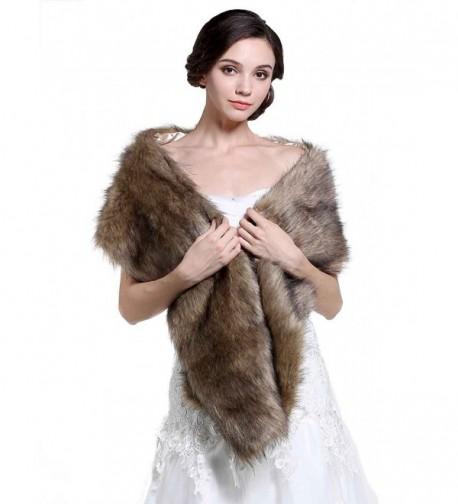 Aukmla Women's Wedding Fur Shawls and Wraps- Bridal Fur Stole and Scarves - CC12MFGIWZ3
