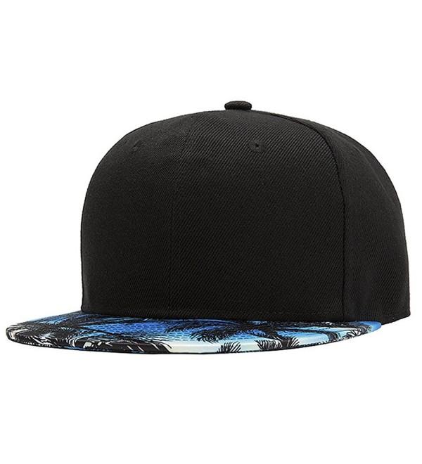 ChezAbbey 3D Printed Solid Brim Hip Hop Adjustable Hat Snapback Baseball Cap - Black - CI12O5NVZLX