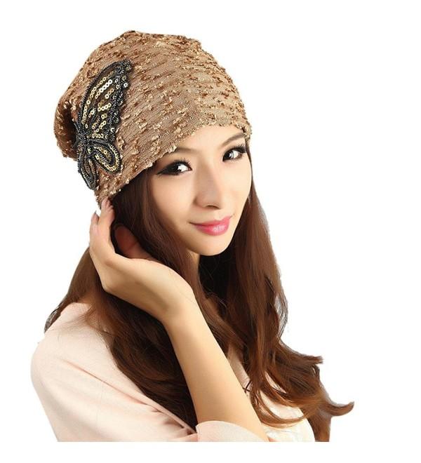 Tuscom Women's Winter hat Lace Butterfly Beanie Lady Skullies Turban Cap - Gold - CG12N0DAVX5