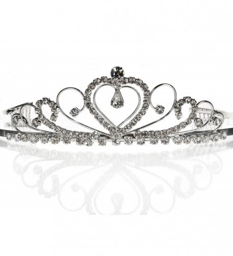 SC Bridal Wedding Prom Silver Tiara Crown With Crystal Heart 42206 - Silver - CA111XNZGR7