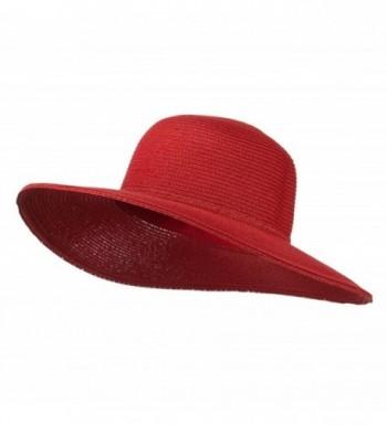 Paper Braid Flat Brim Self Tie Hat - Red W26S25B - CL11D3H5BW1
