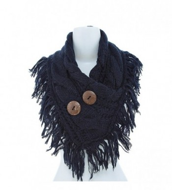 Women's Winter Warm Button Accent Cable Knit Infinity Scarf - YS3680 - Navy - CN12MZC5F72