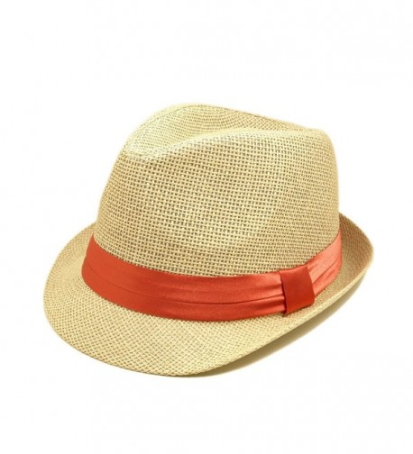 TrendsBlue Classic Natural Fedora Straw Hat with Coral Color Band - C811076FXL5