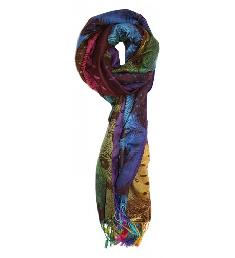 Ted and Jack - Luxe Jewel Tones Peacock Feathers Pashmina - Multicolor - CS17WU8GI23
