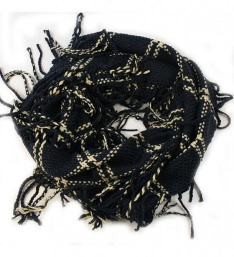 Apparelism Women's Winter Plaid Knitted Infinity Loop Scarf with PomPom Fringe - C.navy - CJ1893WU79Y