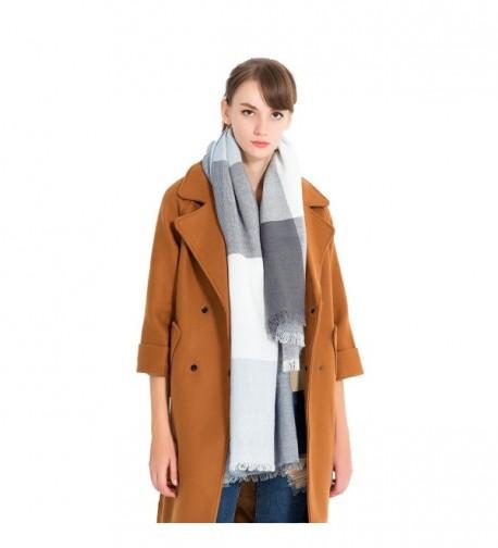 Women Plaid Blanket acrylic square scarf winter over size warm - Lightblue Grey - CP187DIS366
