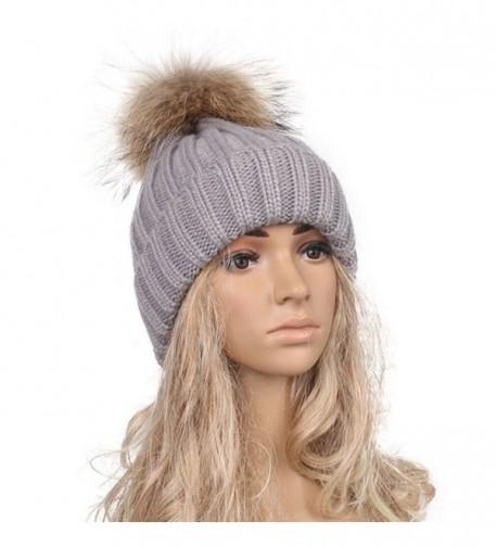 DEESEE Beanie Hat Women Winter Crochet Hat Wool Knit Hemming Warm Cap - Gray - CI12NB2L994