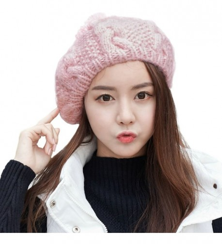 SIGGI Womens Cable Wool Knit Slouch French Beret Hats Cap Pom Winter Packable - 88215_Pink - CU12MXXHUY3