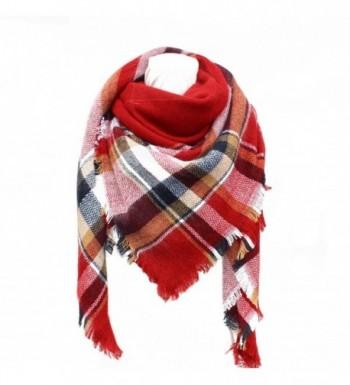 SUNDAYROSE Plaid Blanket Scarves Oversized Winter Warm Sqaure Tartan Shawl Wrap - Red - CW186OLOXT8