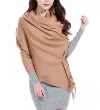 Womens Soft Wool Cashmere Oversized Blanket Wraps Sheer Shawl Tassel Scarf - Kahaki - C0185DLC4XW