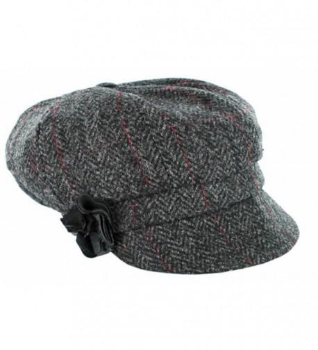 Ladies Newsboy Cap - One Size- Gray - C611HP5VL0N