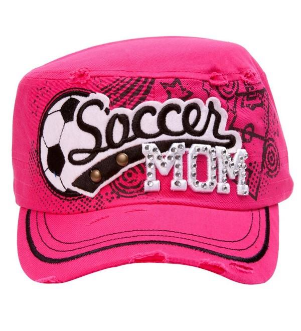 TopHeadwear Soccer Mom Distressed Adjustable Cadet Cap - Hot Pink - CL11NZJ8FPH
