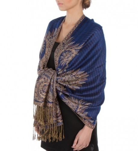 "Sakkas 70"" x 28"" Big Paisley Jacquard Layered Woven Pashmina Shawl / Wrap Stole - Royal Blue - CP113PGXF6T"