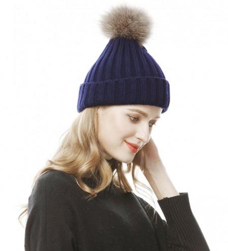 Lovful Womens Girls Winter Fur Hat Real Large Fur Pom Pom Beanie Hats - Navy - CB12N1SBJ7Q
