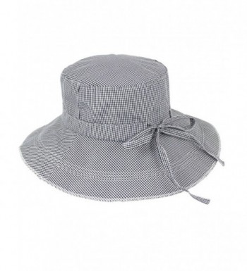 Dahlia Women's Summer Sun Hat - Gingham Wide Brim Bucket Hat - Gray - CD11ZR0XOQH