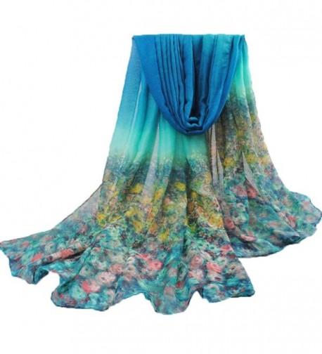 Meihuida Sexy women fashion Floral scarf spring summer beach silk patterns - Blue - CN11X0PXHQ3