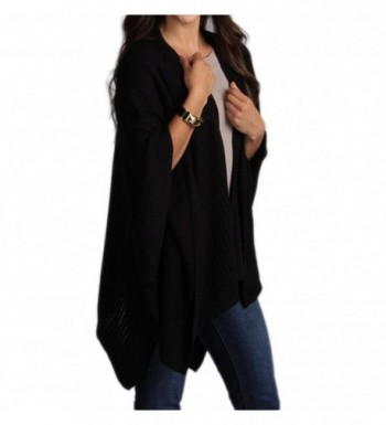 Chic Knitted Poncho Cape Shawl Cardigan Wrap with Pockets- 3 Colors - Black - CG11F5AV81B