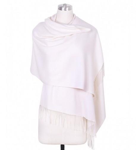 DRESSOLE Soft Cashmere Scarf for Women Chic Pashmina Shawls Scarves Poncho - Off-White - C7188UXIKZO
