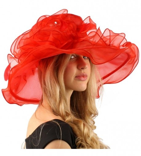 "Bella Cielo Ruffle Cascade Floral Feathers Jewel Derby Floppy Wide 7"" Hat - Red - C312CPH33BP"