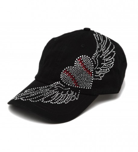 Spirit Caps Women's Baseball Clear Stone Heart Adjustable Cap - Black - CF11LK539CR