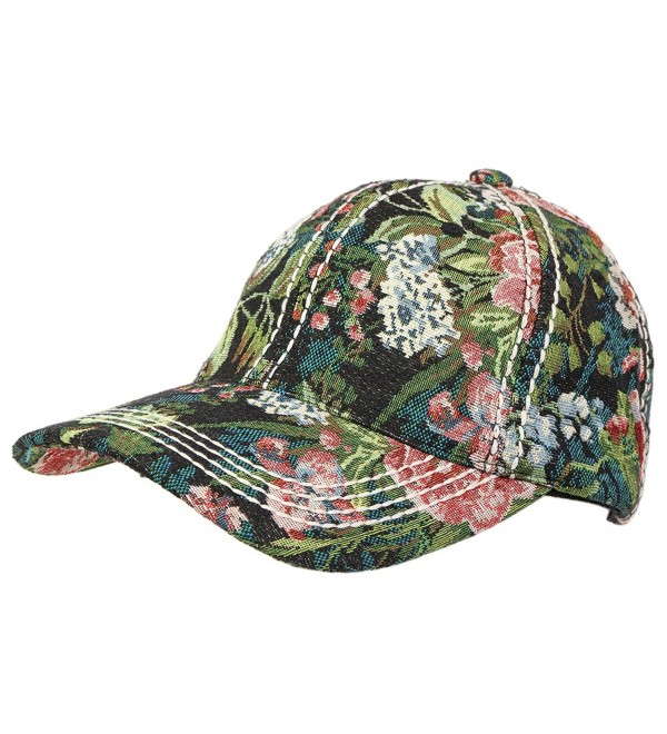 Funky Junque's Vintage Floral Tapestry Stitch Baseball Hat with Leather Closure - CQ12EGSOHBV