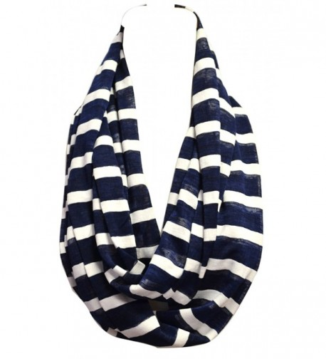 Anytime Scarf Navy Blue and White Stripes Nautical Infinity Loop Scarf Cotton - CY11D8WWHIR