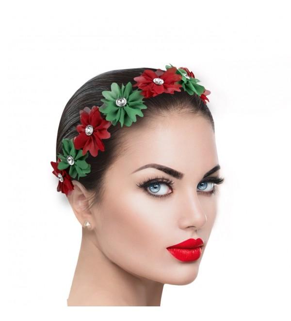 Xmas Holiday Christmas Headband Green Red Floral Crown Christmas Cs12ne1t7xn