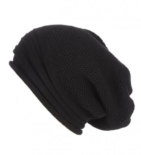 Hunputa Womens Hat Winter- Unisex Warm Chunky Stretch Cable Knit Slouchy Baggy Beanie Hat Skull Cap - Black - CC188A6SXT6