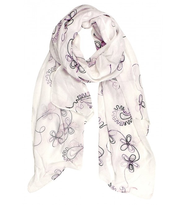 Peach Couture Summer Fashion Blossom Embroidered Sheer Floral Scarf Wrap Shawl - White - C5126XANENV