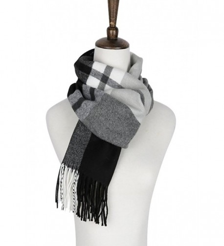 Belle Donne - Womens and Mens Cashmere Feel Winter Plaid Scarves Shawl Wrap - Black-gray-ivory - CD17YEHG4C8