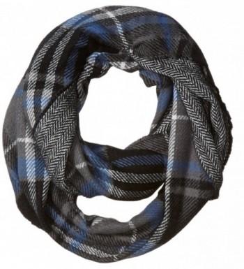 D&Y Women's Traditional Plaid Loop Scarf Reversible To Herringbone Print - Grey - C412JOP70P1