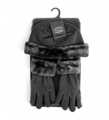Women's Solid Polyester Fleece 3-Piece gloves scarf Hat Winter Set - Dark Charcoal - CX188NOUK0G