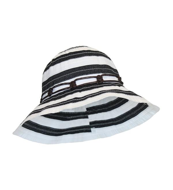 Boho Ribbon Crusher Round Crown Bucket Sun Hat SPF UPF 50 UV Protection Packable - Black & White - CM12E31Q1NN