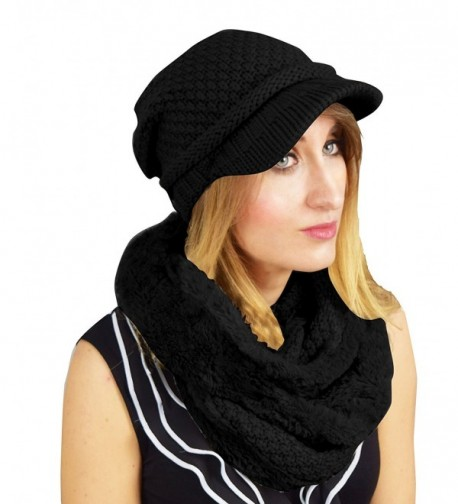 Peach Couture Thick Crochet Plush Visor Beanie Hat Infinity Loop Scarf 2 Pack - Black - CW12N2HFJBN