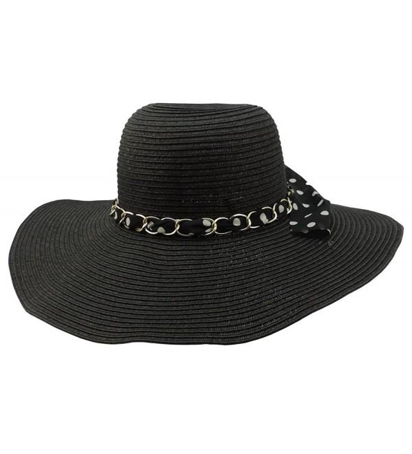 0eb6ecc16 Womens Floppy Wide Brim Packable Sun Hat Black With Polka Dot Band  C912OI3XNRV