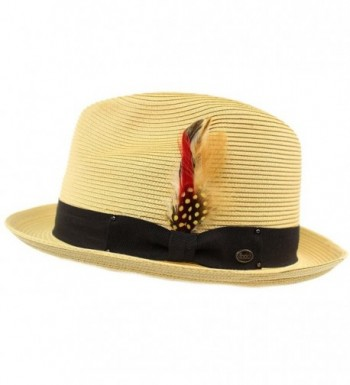 Men's Light Removable Feather Derby Fedora Wide Curled Brim Hat - Natural - CI17YQRKZOL